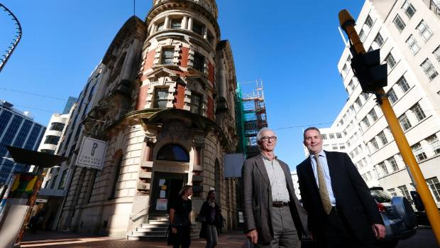 HISTORICAL HALLMARK: Building owner Maurice Clark, left, and Ministry for Culture and Heritage chief executive Lewis ...