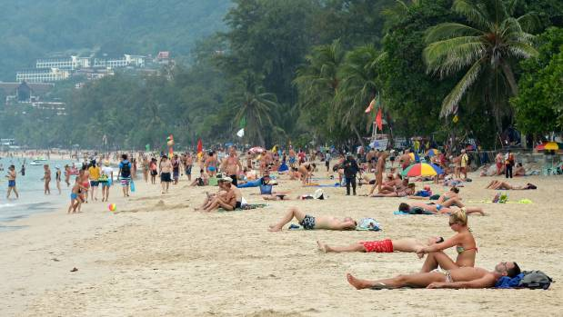 Patong beach in Phuket, where a Kiwi man was staying when he died.