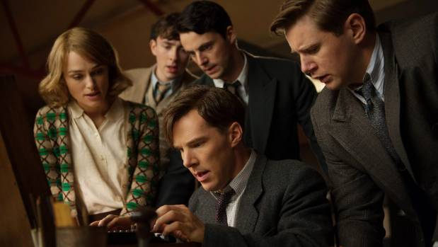 Benedict Cumberbatch, sitting centre, is Alan Turing in the film The Imitation Game.