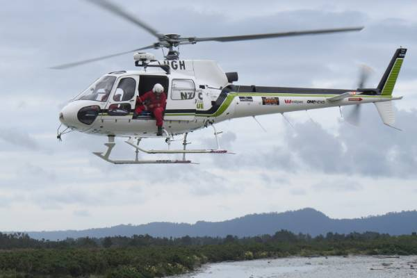 A rescue helicopter from Greymouth joined the search yesterday for a car which plunged into the Wanganui River.