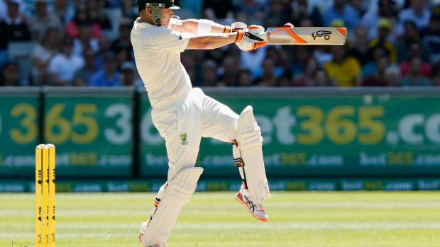 Brad Haddin plays a pull shot against India in the Boxing Day test at the MCG.