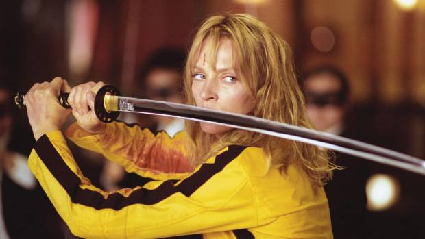 BRIDEZILLA: Uma Thurman went retro in a tracksuit for her role in Kill Bill.