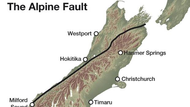 The Alpine Fault runs across the South Island.