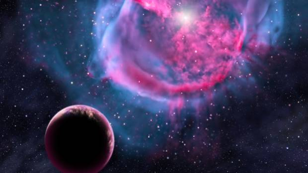 This artist's conception depicts an Earth-like planet orbiting a star that has formed a €œplanetary nebula.€ Eight ...