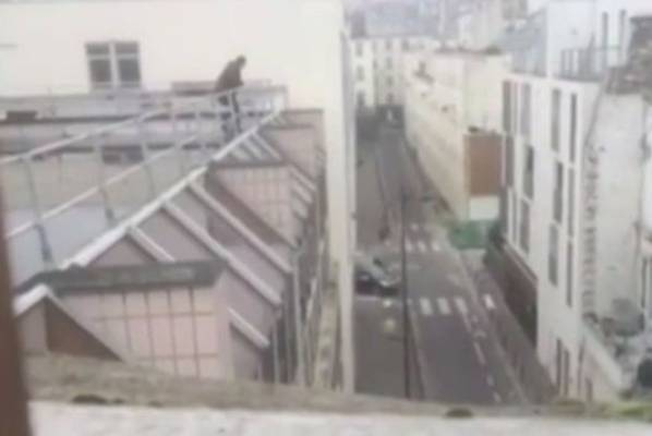 Footage from the rooftops of the terror attacks in Paris
