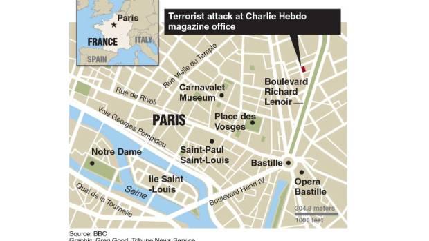 Locator map of Charlie Hebdo magazine where gunmen went on rampage.