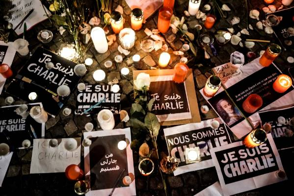 "BERLIN: Papers with ""I am Charlie"" in various languages as part of a vigil at Berlin's French Embassy."