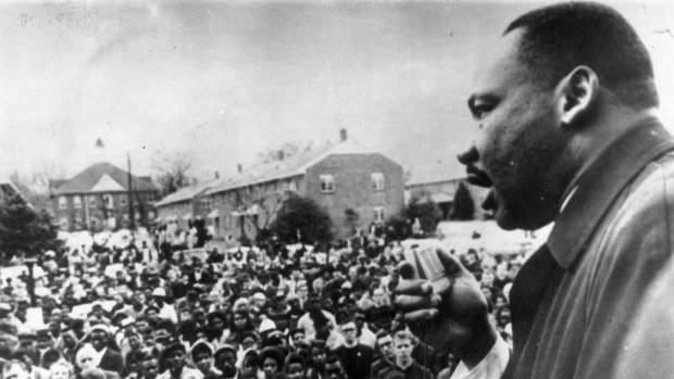 Martin Luther King Jr addresses civil rights marchers in Selma, Alabama