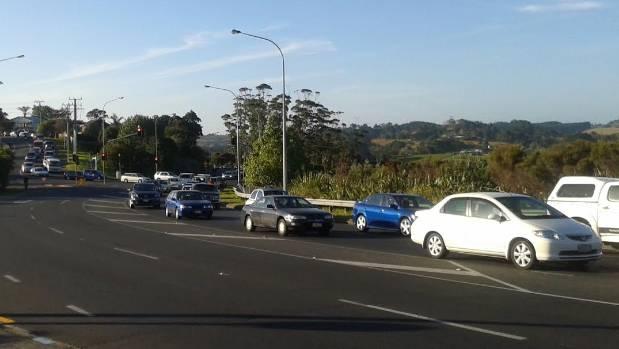 QUEUE: Motorists faced significant delays after a fatal crash in Whangaparaoa.