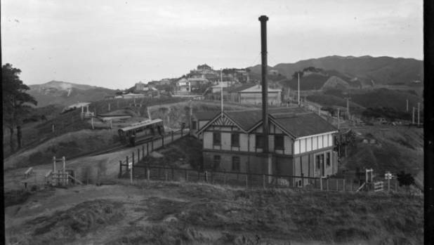 An early shot of the Wellington cable car station in Kelburn shortly after the service opened in 1902.