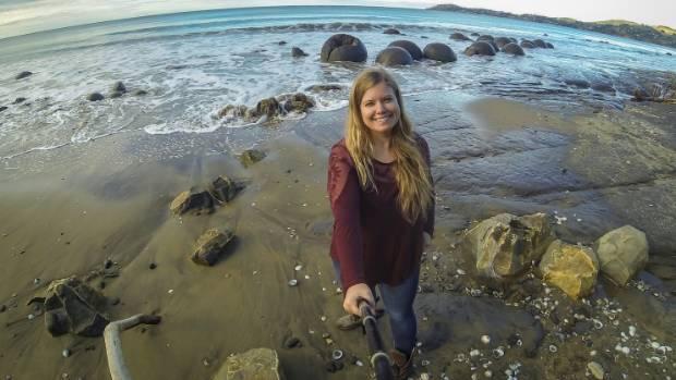 SELFIE TIME: Liz Carlson in Moeraki.
