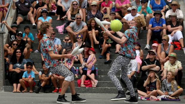 BEST KIWI ACT: Degge, left, and Zane Jarvie in action before an enthralled audience.