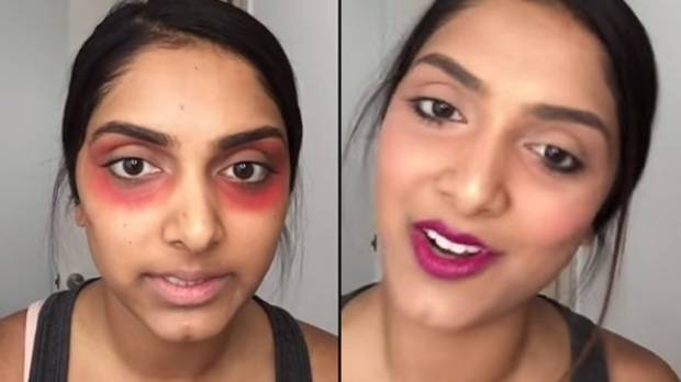 Makeup Trick Why She Smears Red Lippie Under Her Eyes