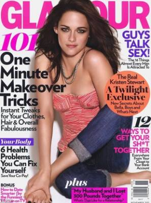 Kristen Stewart's November 2011 cover on Glamour magazine doesn't look out of the ordinary, until you notice her left ...