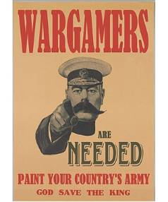 Poster calling wargamers to create toy soldiers to be used in a model re-enacting the WW1 battle of Chunuk Bair as part ...