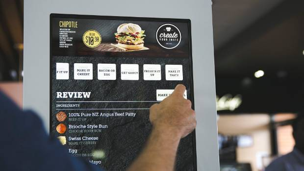 DIY: The touch screen to order burgers.