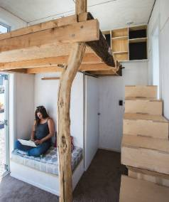 COSY: Brie Sherow at the 10-square-metre microhouse.