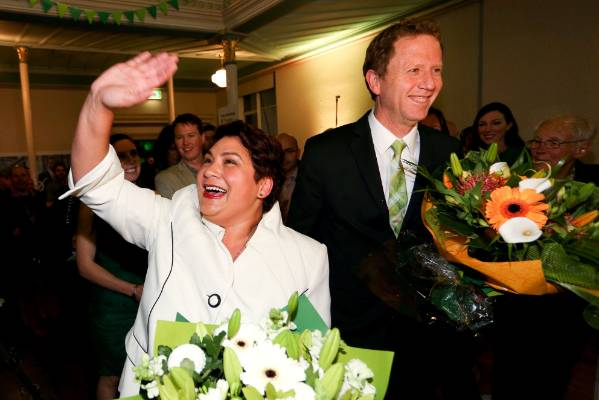 Meteria Turei and Russel Norman arrive at the Green Party's election party last year.