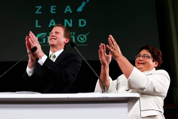 Russel Norman and Metiria Turei salute supporters after last year's general election.