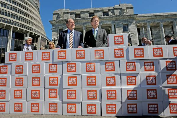 Russel Norman with ex-Labour leader David Shearer, presenting the petition for a referendum on asset sales at the ...