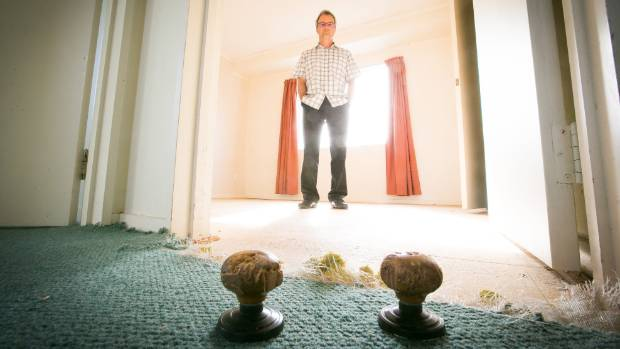 CHEWED UP: Landlord Cassian Steidle's last tenant left him with chewed doorhandles and ripped up carpet in the main bedroom.
