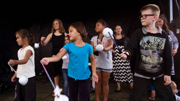 CROWD-PLEASER: Poi competition at the Palmerston North Waitangi day event.