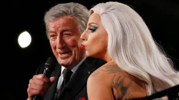 Lady Gaga performs Cheek to Cheek with Tony Bennett at the 57th annual Grammy Awards in Los Angeles.