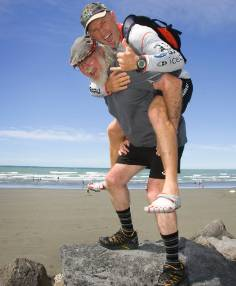 TOP COMPETITOR: Multiple winner Steve Gurney gets a lift from Coast to Coast founder Robin Judkins.