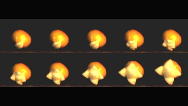 A slow motion series of images shows a piece of popcorn exploding. One-2000th of a second has elapsed between each image.