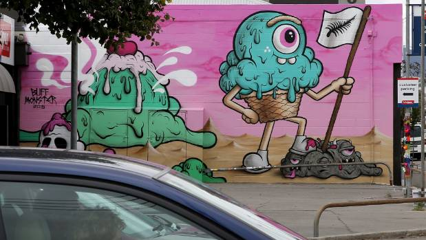 HARD TO MISS: A work by Buff Monster on the corner of St Asaph Street and Durham Street.