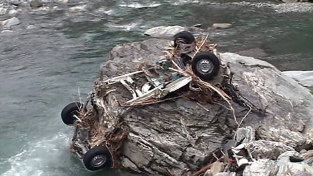 The wreckage of the campervan that Connor Hayes and Joanna Lam had rented.