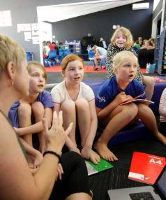 NEW LOOK: Teacher Juliet Dickinson, with Ella Chambers, 9, Mila Ollington, 9,  Emilee Jones, 9, and Jayda Boyd, at rear, 8.