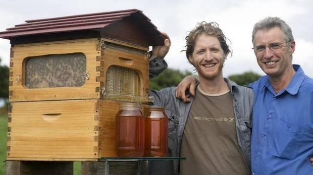 SWEET SUCCESS: Father and son inventors Cedar (left) and Stuart Anderson  are set - Backyard Beehive Invention Allows Honey On Tap Stuff.co.nz