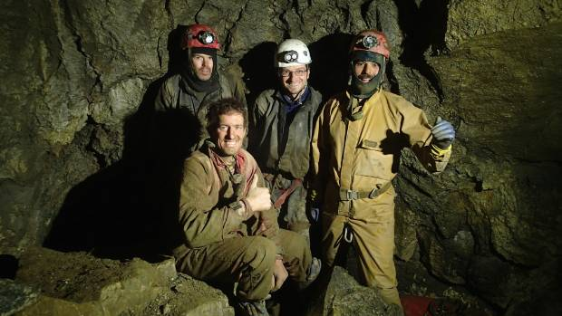 Success!: Cavers. from left, Gavin Holden, Jonathon Raven, Bruce Mutton and Kieran McKay, front, on finding the  link ...
