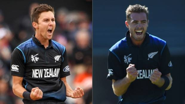 ON FIRE: Black Caps pacemen Trent Boult, left, and Tim Southee have been in sparkling form with the ball.
