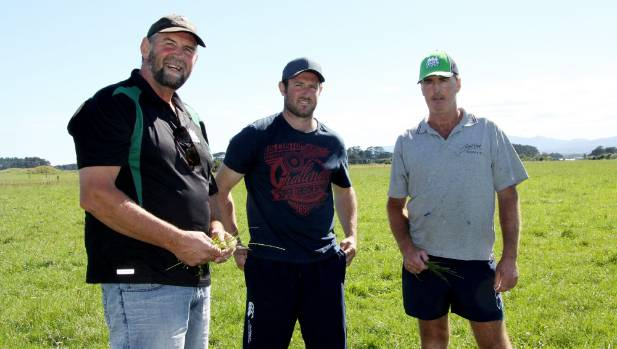 On Coastal Rugby & Sports Club's dairy farm at Oaonui are club stalwarts Mark Trolove, left, and Dan Morgan, right, with ...