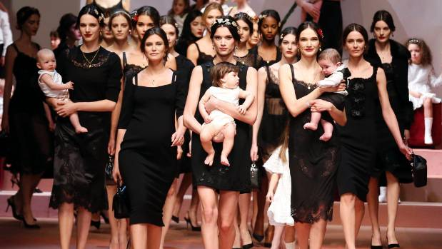 9c00670371 VIVA LA MAMMA  Dolce   Gabbana presented a baby-filled finale at their Milan