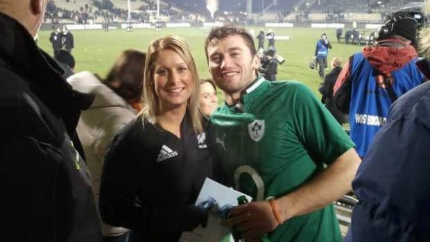Kiwi Brittany North with her Irish boyfriend Danny Dowling at a rugby match.