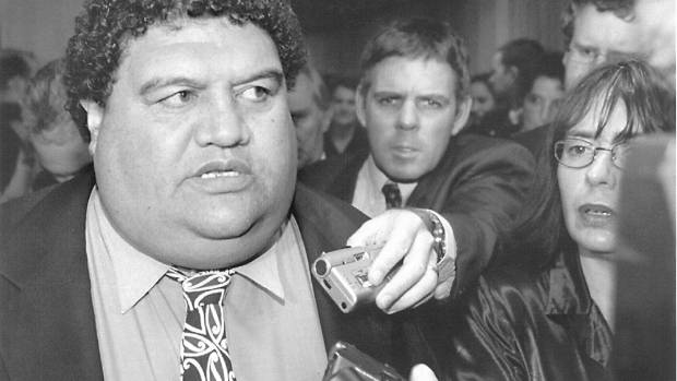 ON THE BEAT: Kevin Norquay in a media scrum around Labour MP Parekura Horomia in 1999.