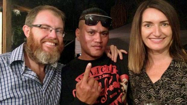 Teina Pora with 3D's Eugene Bingham and Paula Penfold on the night the Privy Council quashed his conviction.
