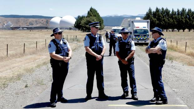 ON GUARD: Police at the annual protest at the Waihopai spy base near Blenheim.