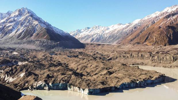 BIG LOSS: Tasman Glacier, from the moraine wall.  Fifteen per cent of the total ice volume of the Southern Alps has been ...