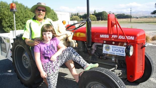 Whitianga farmer Graham Murrell with his granddaughter Katie Biggs, 8, who came over with her family from Richmond to ...