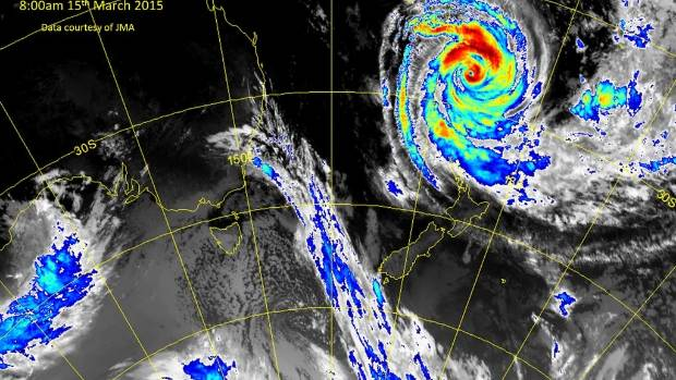 INCOMING: The cyclone sitting above New Zealand, as at 8am on Sunday.