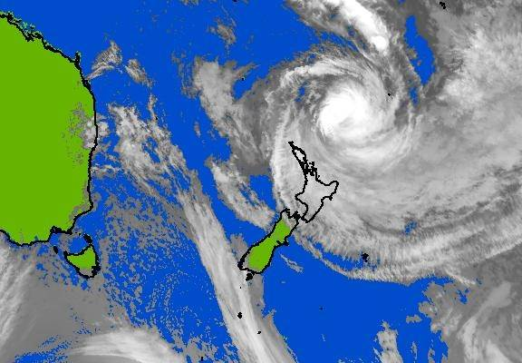 This image shows Cyclone Pam  north of New Zealand at 6pm, local time, on Sunday.
