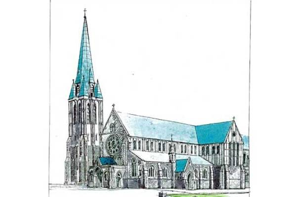CATHEDRAL DESIGN : Sir Miles' design proposes wooden cladding on the upper sections of the walls and a copper roof ...
