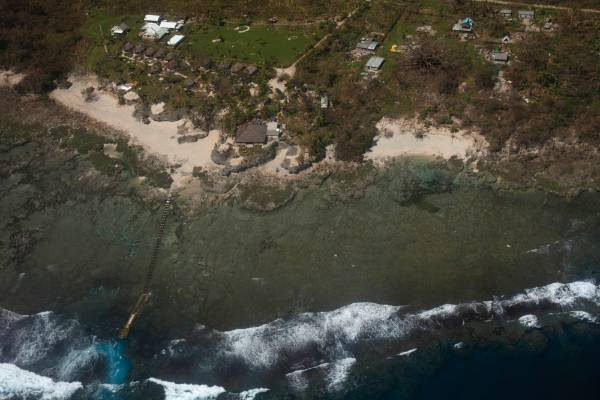 An aerial view of the destruction of a resort after Cyclone Pam struck on Tanna Island, Vanuatu.