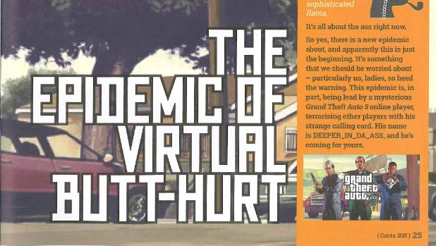VIRTUAL RAPE: The Canta article in question - The epidemic of virtual butt-hurt.