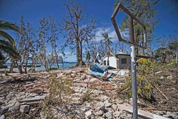 Coastal buildings were ripped to shreds by Cyclone Pam.