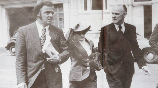 Lawyer Mike Bungay, left, with Bill Sutch and his wife Shirley Smith.